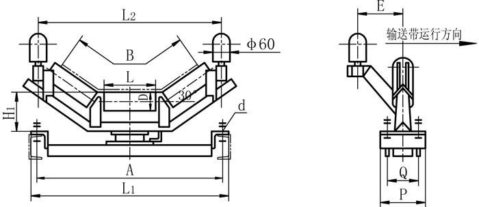 DT75型上皮带液压纠偏装置外形图